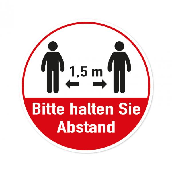 Bodenmarkierung - Bitte halten Sie Abstand - 1,5 Meter - Rund - Weiß/Rot - verschiedene Größen