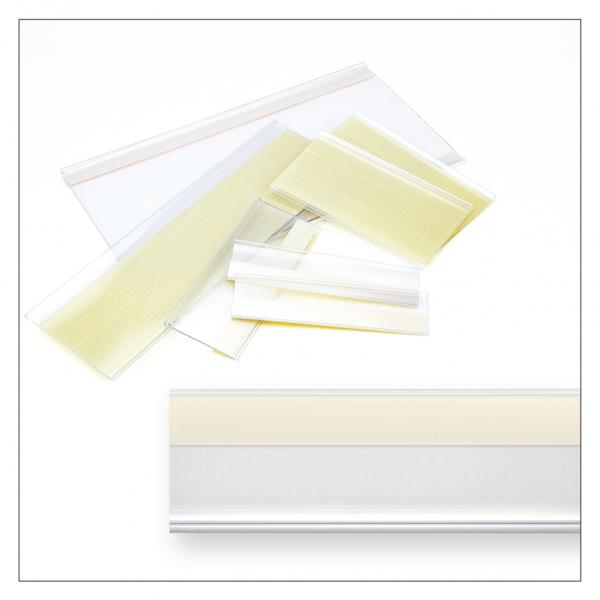 Etikettenhalter 1.240 x 21/33/37 mm, selbstklebend, transparent - 50 Stück