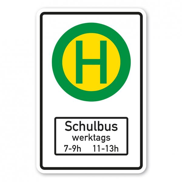 Verkehrsschild Haltestelle für Straßenbahnen oder Linienbusse mit Symbol VZ 224 und Zusatzzeichen Schulbus - Kombi