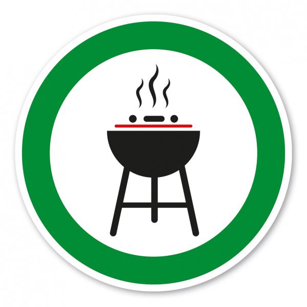 Gebotszeichen Grillplatz - Grillen erlaubt (grüner Rand)