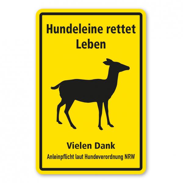 Hinweisschild Hundeleine rettet Leben - Anleinpflicht laut Hundeverordnung NRW