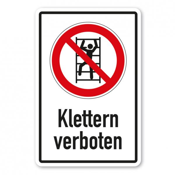 Verbotsschild Aufsteigen - Klettern verboten - Kombi – ISO 7010 - P009-K