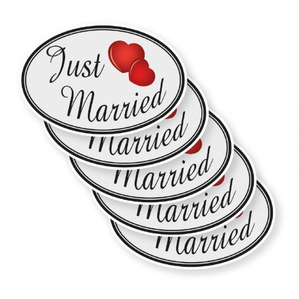 Magnetisches Formstück Just Married zur Dekoration von Hochzeitsfahrzeugen