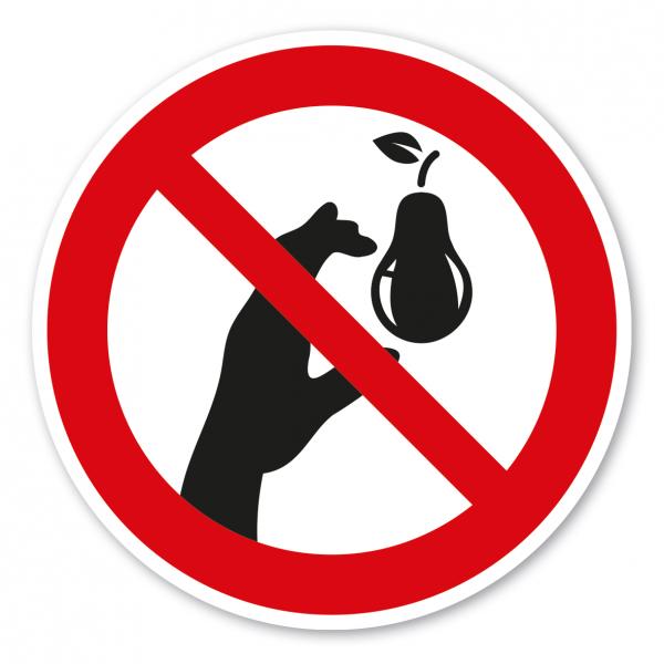 Verbotszeichen Birnen pflücken verboten - Ernteschild