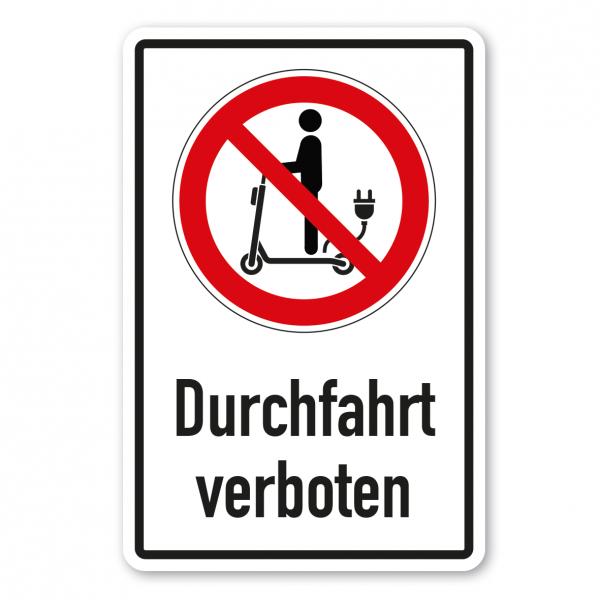 Verbotsschild Für E-Scooter Durchfahrt verboten 01 - Kombi