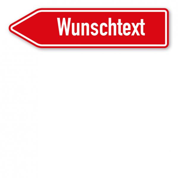 Pfeilschild / Pfeilwegweiser – individuelle Ausführung in rot/weiß