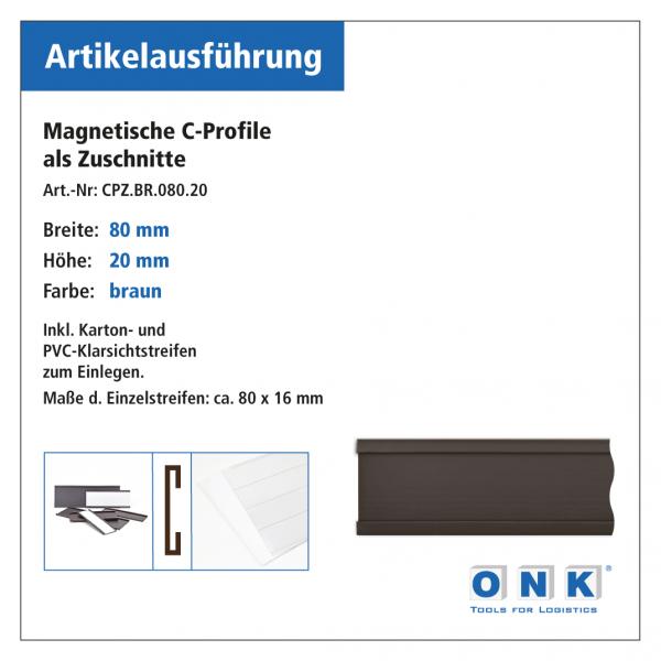 Magnetische C-Profile-Zuschnitte - braun