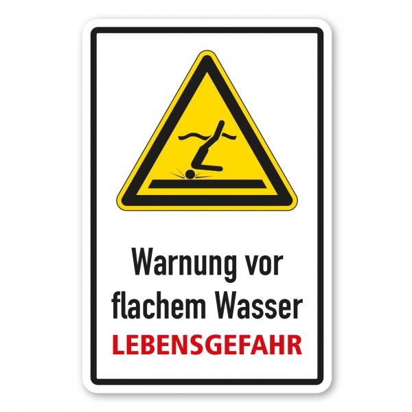 Warnschild Warnung vor flachem Wasser - Lebensgefahr - Kombi - ISO 20712-1 - WSW006-K-02