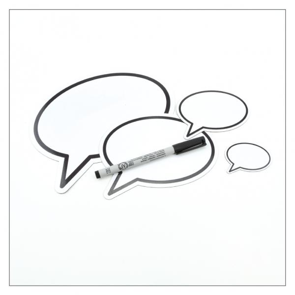 Sprechblasen inkl. wasserlöslichem Marker für Kühlschrank, Pinnwände oder Auto