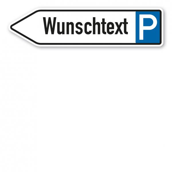 Pfeilschild / Pfeilwegweiser – individuelle Ausführung – Parkplatz