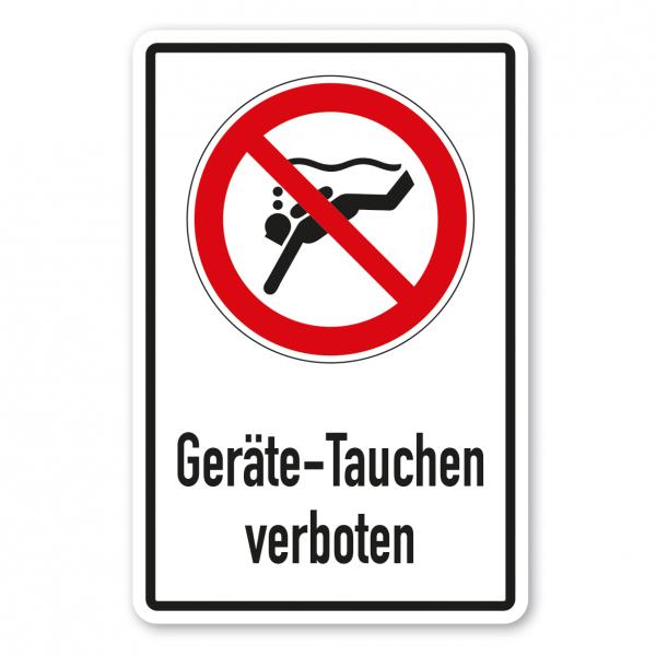 Verbotsschild Geräte-Tauchen verboten - Kombi – ISO 20712-1-WSP-004-K