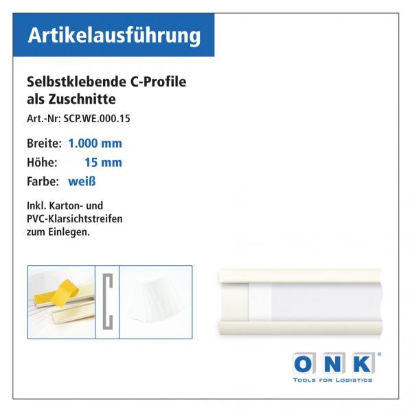 Selbstklebende Etikettenhalter (C-Profil) - weiß
