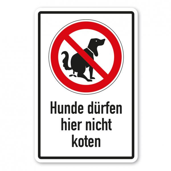 Verbotsschild Hunde dürfen hier nicht koten - Kombi