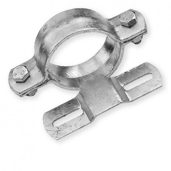 Rohrschelle 120/140 mm Länge (70 mm Lochung) zur Schilderbefestigung