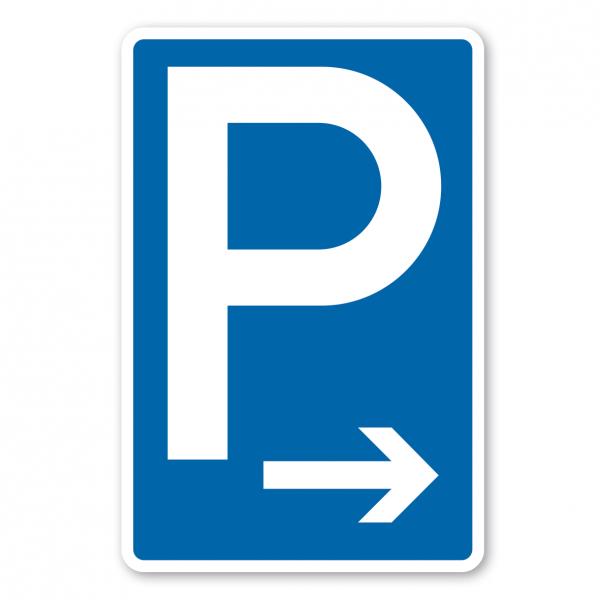 Parkplatzschild Parken mit rechtsweisendem Pfeil - Verkehrsschild