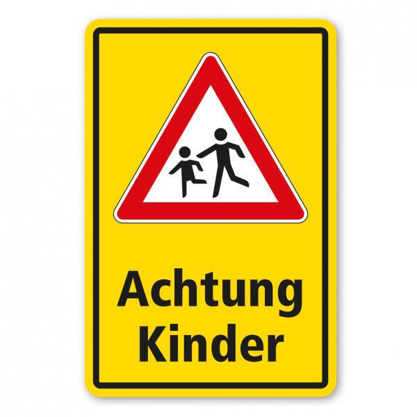 Kinderschild / Verkehrsschild Achtung Kinder - Kombi