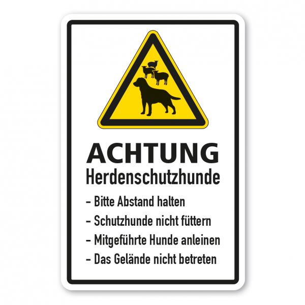 Warnschild Achtung - Herdenschutzhunde (Schafe) - Bitte Abstand halten - Schutzhunde nicht füttern - Hunde anleinen - Gelände nicht betreten - Kombi