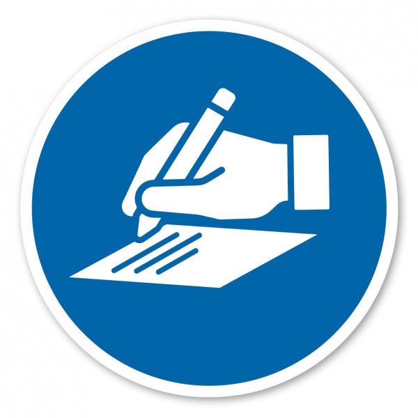 Gebotszeichen Registrierung - Empfang quittieren