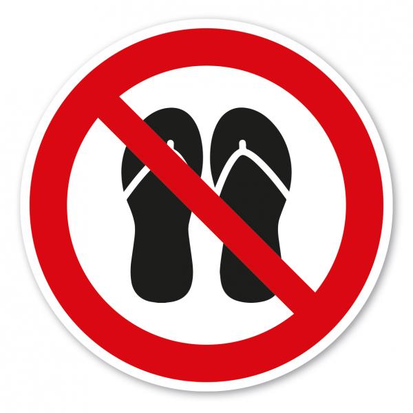 Verbotszeichen Nutzung mit Badesandalen - Flip-Flops verboten