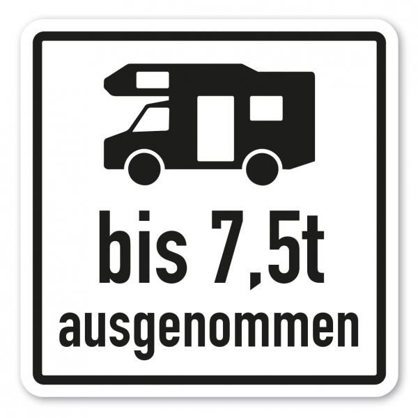 Parkplatzschild Wohnmobile bis 7,5t ausgenommen - quadratisch - Verkehrsschild