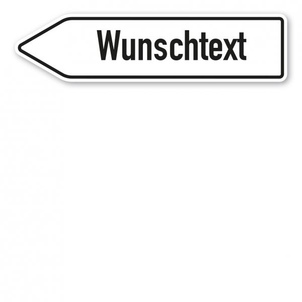 Pfeilschild / Pfeilwegweiser – individuelle Ausführung in weiß/schwarz