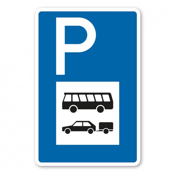 Parkplatzschild Busse und PKW mit Anhänger – mit großem Piktogramm - Verkehrsschild