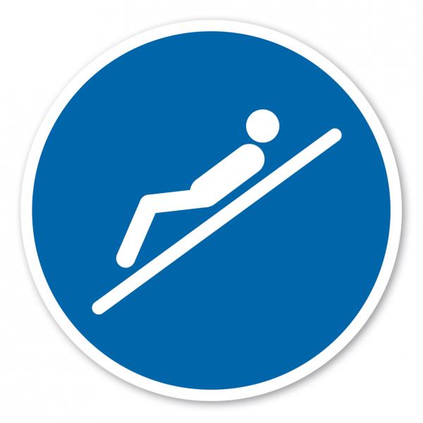 Gebotszeichen Nur in Rückenlage, Füße voraus rutschen – Wasserrutschen