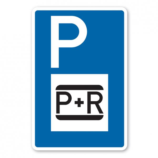 Parkplatzschild Parken und Reisen - park and ride – mit großem Piktogramm - Verkehrsschild